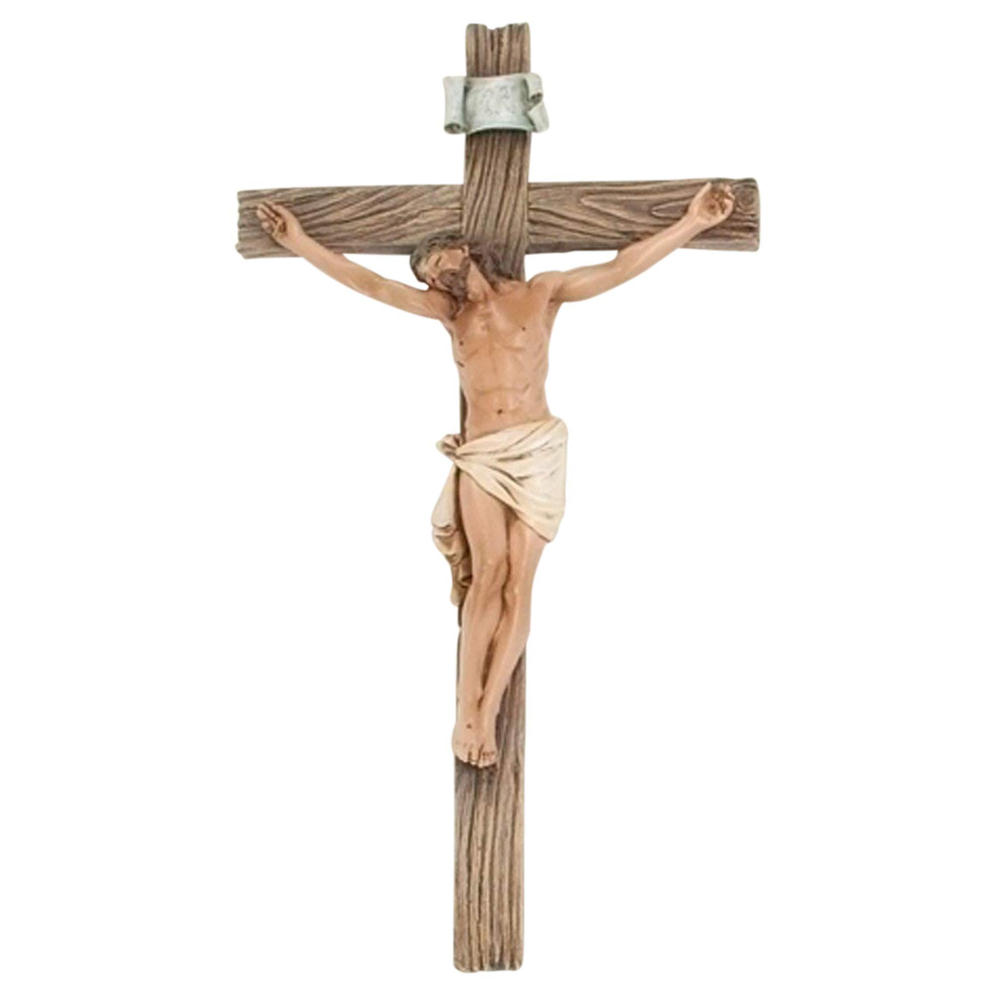 Roman Traditional Figure Textured Wood Look 4.25 x 8 Resin Stone Wall Crucifix