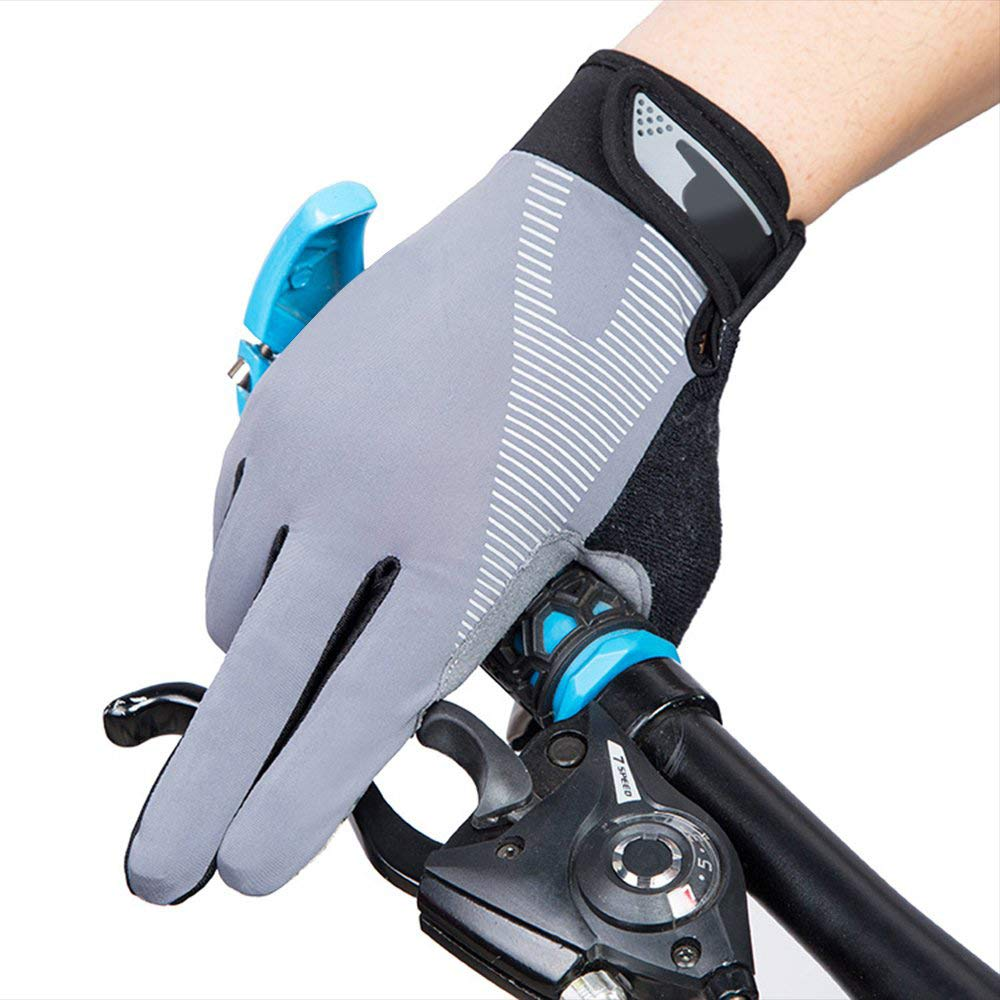 AsDlg Full Finger Sport Riding Summer Gloves, Touchscreen Biking Cycling Gloves Breathable Anti-Slip Gloves for Mountain Road Bicycle for Men Women Ladies (Color : Gray, Size : M) by AsDlg