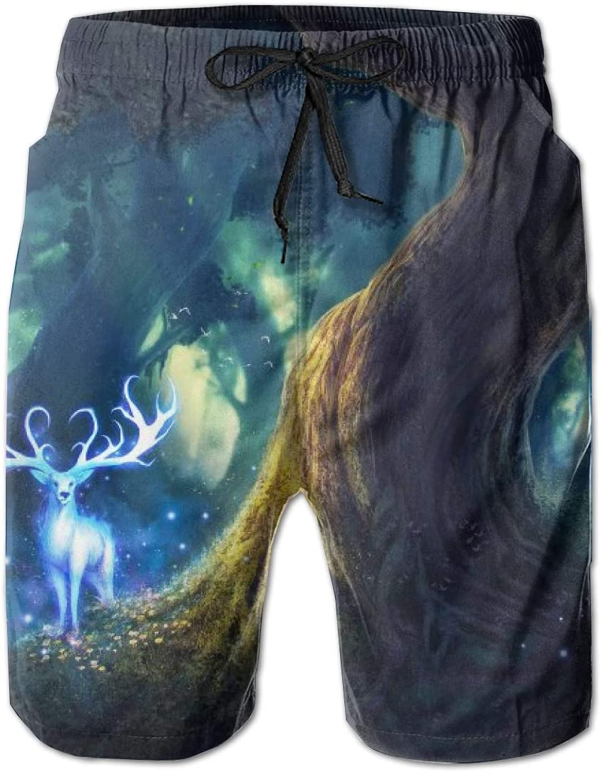 HZamora/_H Men Psychedelic Deer in The Forest Summer Breathable Quick-Drying Swim Trunks Beach Shorts Cargo Shorts
