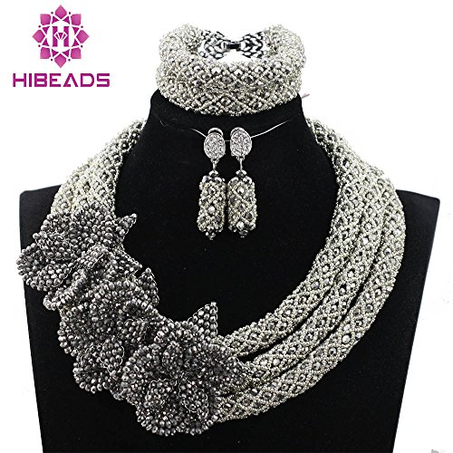 African Beads Silver Crystal Beads Jewelry Set With Handmade Flower Brooch Heavy Design by Africanbeads