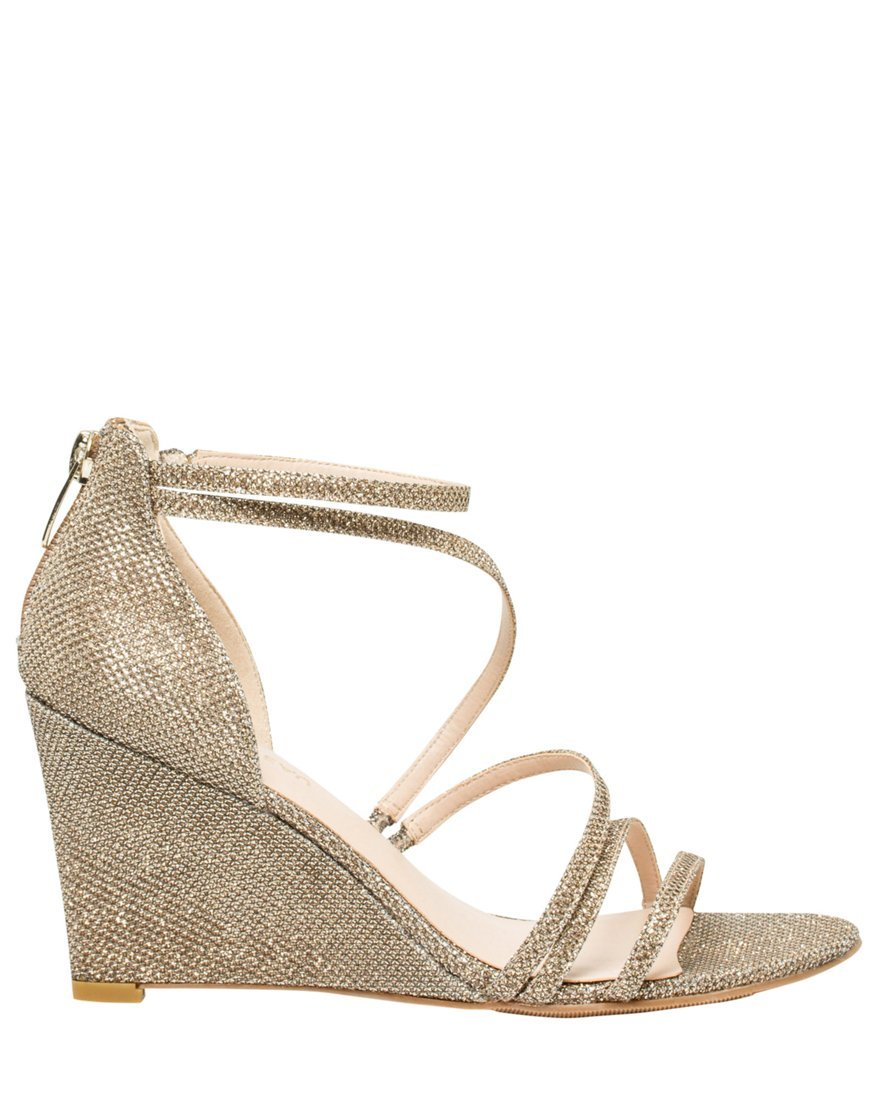 LE CHÂTEAU Women's Glitter Mesh Strappy Wedge Sandal,7,Champagne