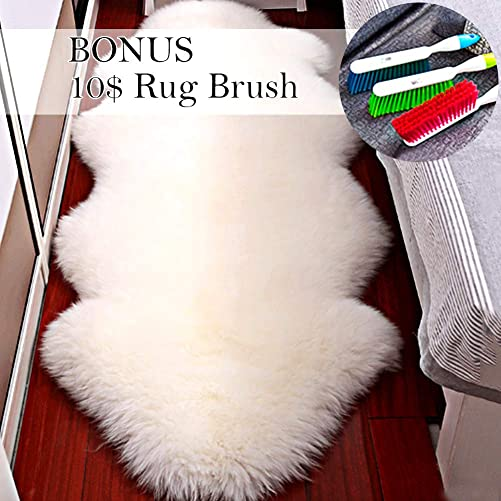 Fityou Genuine Home Decor Skeepskin Area Rug Chair Cover for Bedroom Living Room Lvory White Soft Faux Silky Long Wool Fur Rug 2.2 x 7.8 ft .
