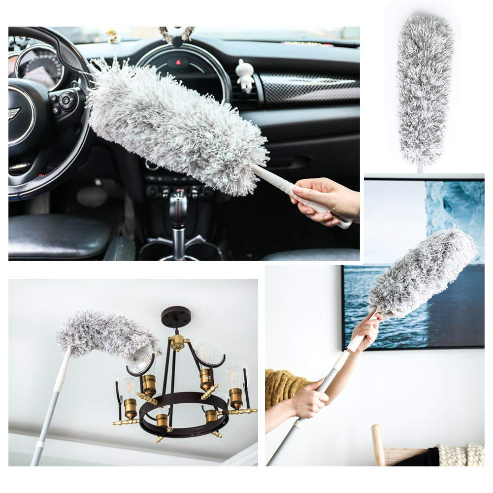 New Microfiber Duster,Extension Pole Reach 47''-68'' inches with Clothes Fork Extending Duster,Washable Bendable Head,Long Duster for Cleaning Dust, High Ceiling Fans, Cobweb,Interior Roof (68) by Furein (Image #4)