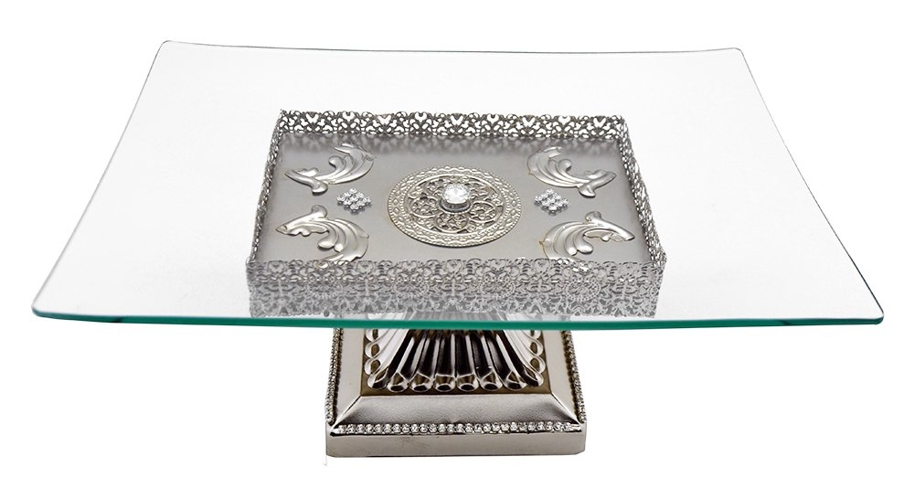 Removable Rectangle Platter on Metal Base With Crystal Stone Accents