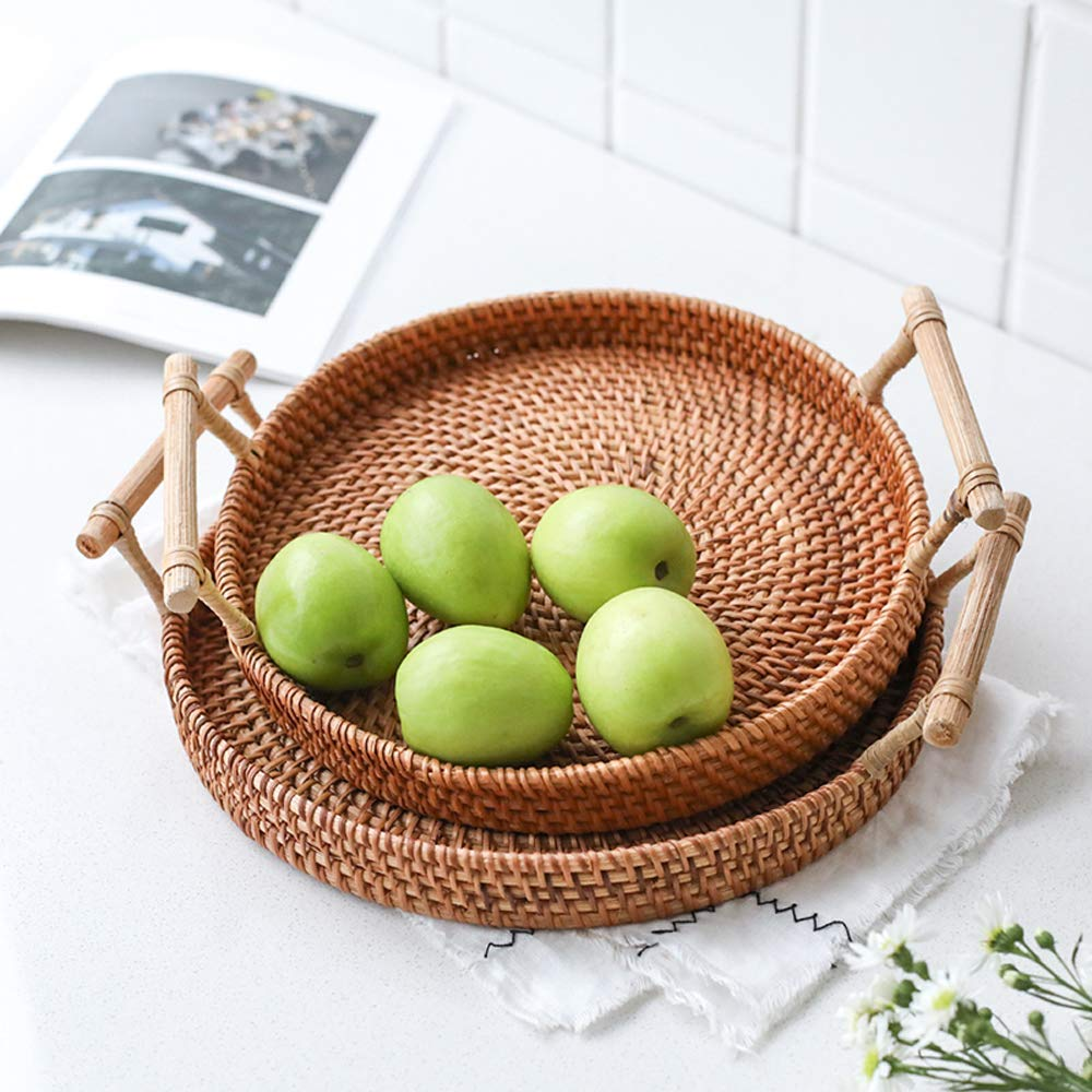 FREELOVE Manual Rattan Bread Basket/Fruit Tray, Round (8.6 in. + 9.4 in.) by FREELOVE (Image #2)