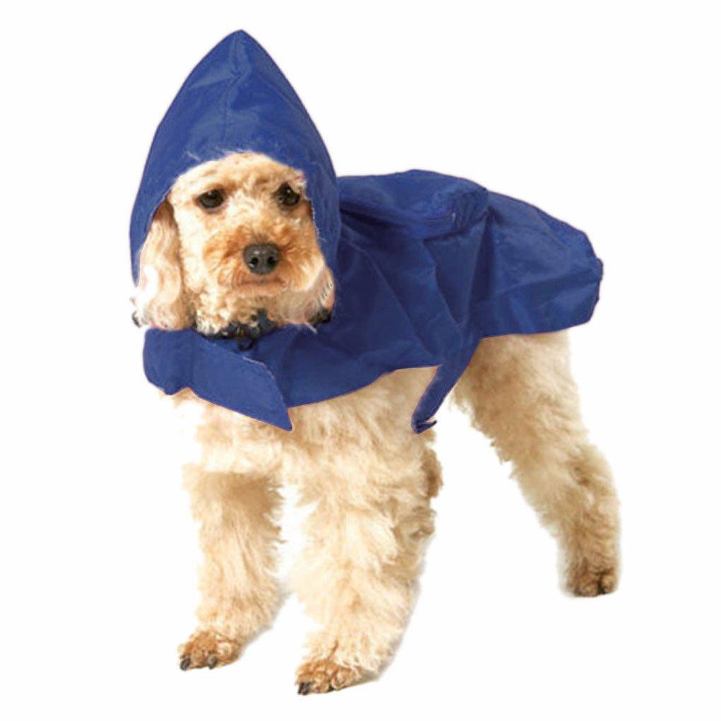 Waterproof Foldable Universal Hooded Rain Coat Rainwear Shirt Vest Warm Outerwear with Leash Hole Puppy Pet Poncho Jacket Clothes for Large/Medium Pet Dog-Blue XXXL