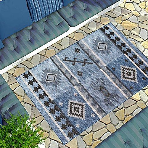 Gardenia Collection Outdoor & Indoor Area Rug   Blue Bohemian 7'10