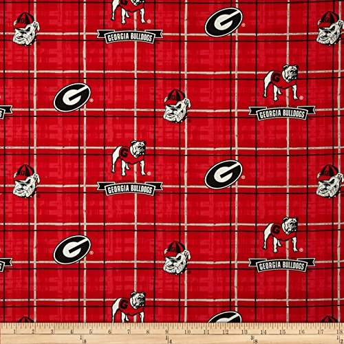 Collegiate Cotton Broadcloth University of Georgia Plaid Red Fabric By The Yard