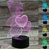 3D Optical Illusion USB Night Light Table Lamps Bedrooms Deco Teddy Bear Love Design for Kids Unique Color Changing 3D Flash and Glow Effect Lamp