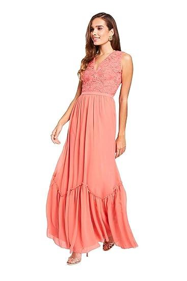Little Mistress Nude Jewel Sleeve Maxi Dress Vestito Elegante Donna