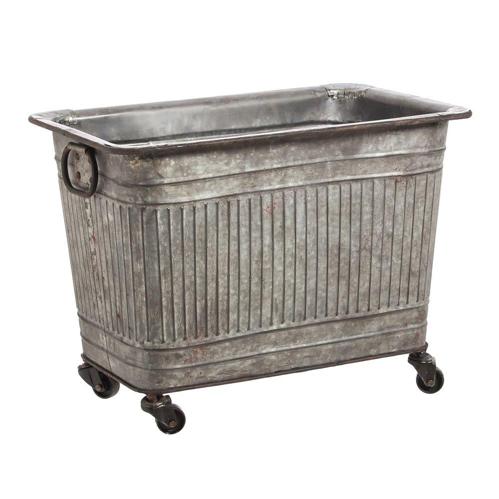 Cape Craftsmen Large Galvanized Metal Tub on Wheels