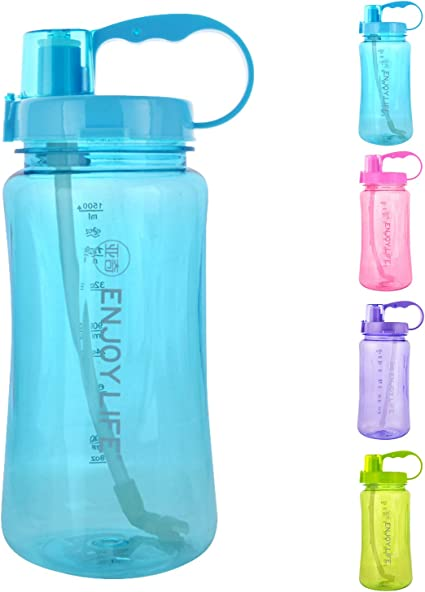 1L Sport Portable Travel Water Juice Bottle Drinking Lid Cup Mug Clear Color New