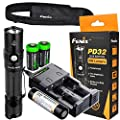Fenix PD32 2016 Edition 900 Lumen CREE LED Tactical Flashlight with genuine Fenix ARB-L2M battery, EdisonBright smart Charger and Two EdisonBright CR123A Lithium Batteries bundle
