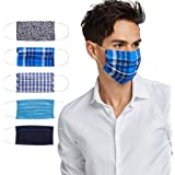 Fashion Washable Reusable Pleated Printed & Solid Mask Set of Five/3 prints & 2 solids/F