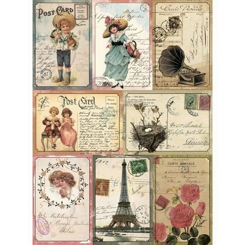 Craft Premier Rice Paper for decoupage Vintage French Cards. Paris, France. 11.69  16.54 inches (~ A3). Made in Russia