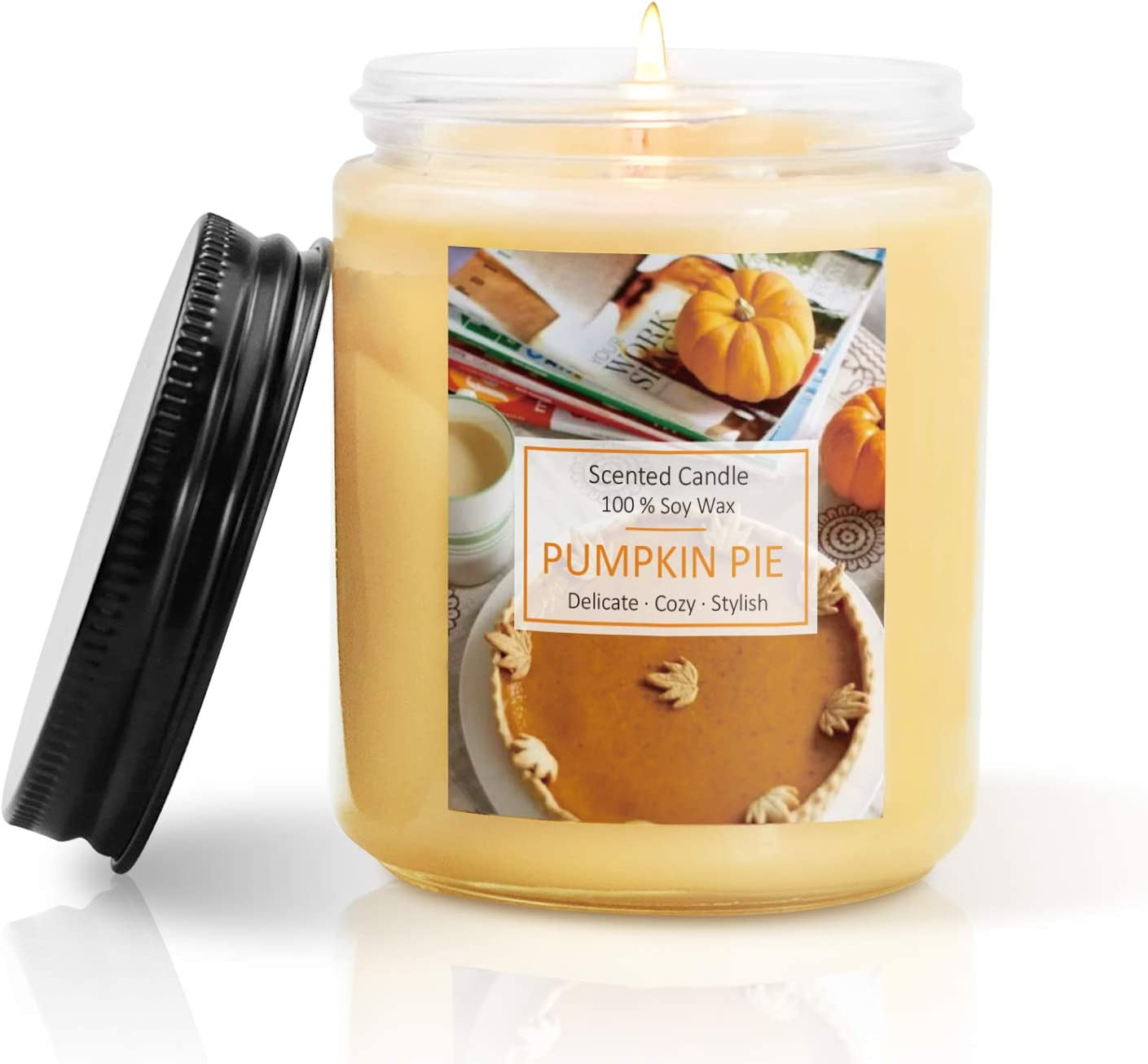 SCENTORINI Scented Candles, Soy Wax Candle, Aromatherapy Handmade Candles, 200 g Pumpkin Pie Candle for Halloween, Christmas
