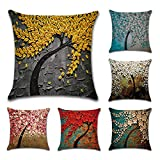 Tebery 6 Pack Cotton Linen Throw Pillow Case Oil Painting Square...