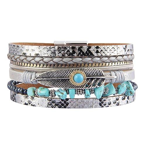 98fd3482560 Amazon.com: JAOYU Women Wrap Bracelets Leather Feather Bracelet Handmade  Cuff Bangle Bohemian Jewelry for Teen Girls Gifts: Jewelry