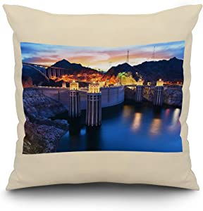 Lantern Press Boulder, Nevada - View of The Hoover Dam at Night with Lights On A-9013182 (18x18 Spun Polyester Pillow, White Border)
