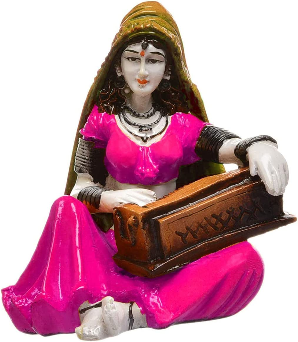 Beautiful Hand Carved Rajasthani Lady Playing Harmonium Polyresin Showpiece for Home Decor.
