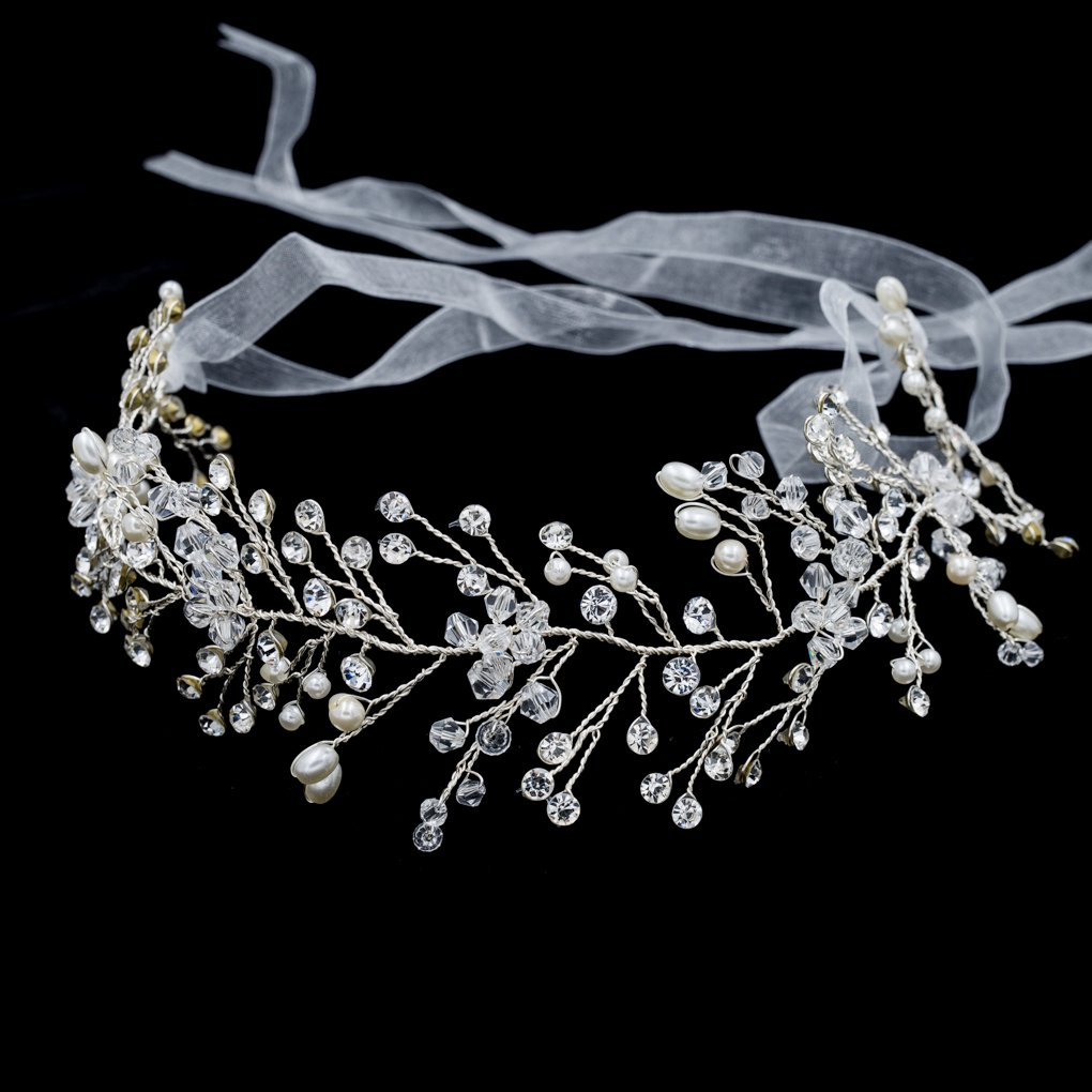 Lace Crystals Rhinestone Girl Soft Headband Hair Chains Bridal Wedding Hair Jewelry Accessories HB1013 (Silver)