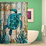 Shower Curtain Bathroom Waterproof Sea Turtle With 12 Hooks Mildew Resistant
