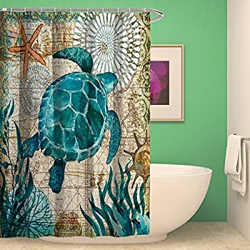 Shower Curtain Bathroom Waterproof Sea Turtle With 12 Hooks Mildew Resistant
