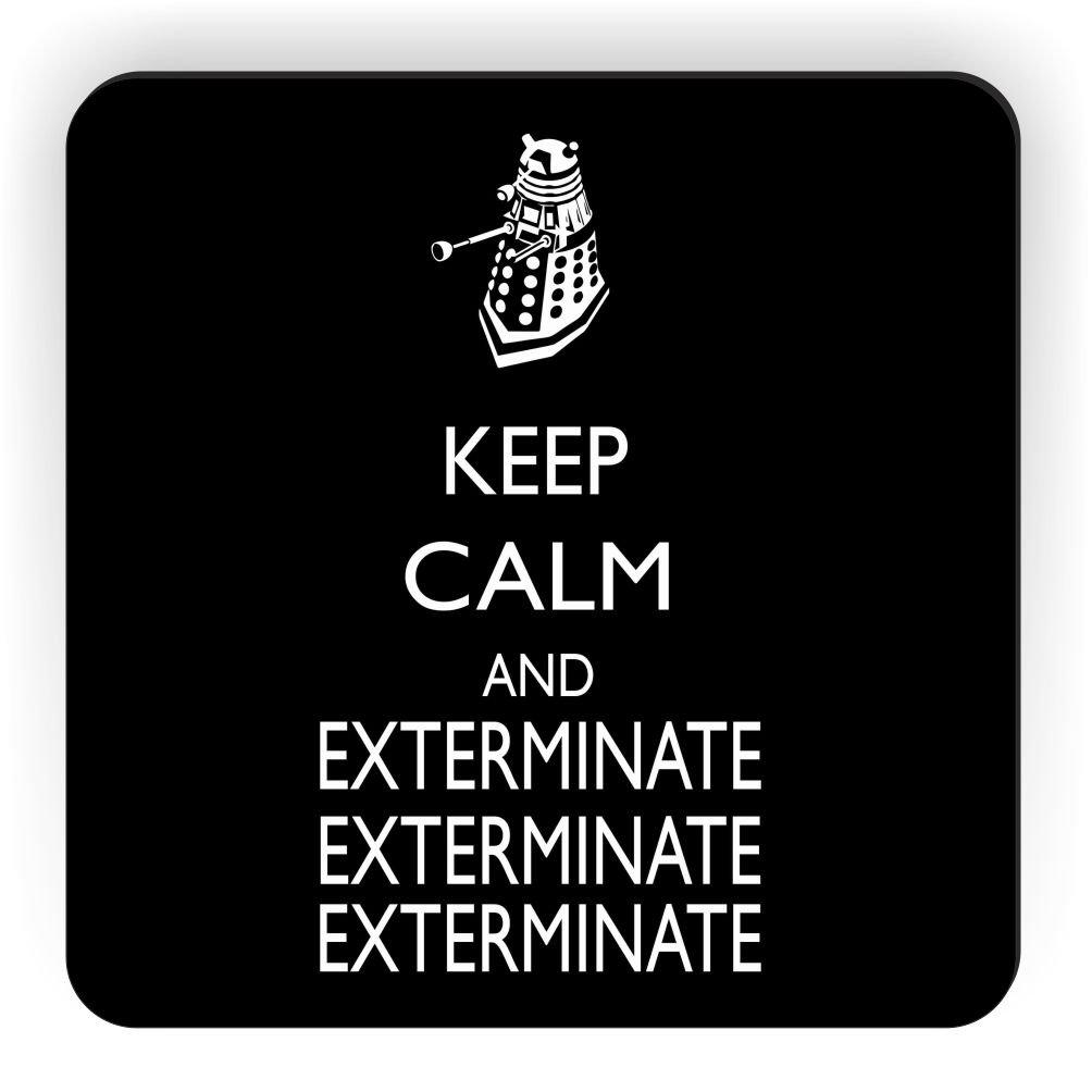 Black Rikki Knight Keep Calm and Exterminate SM Design Square Fridge Magnet