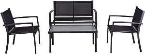 Shining Patio Furniture Set Sofa Coffee Table Steel Frame Garden Deck Black 4 PCS