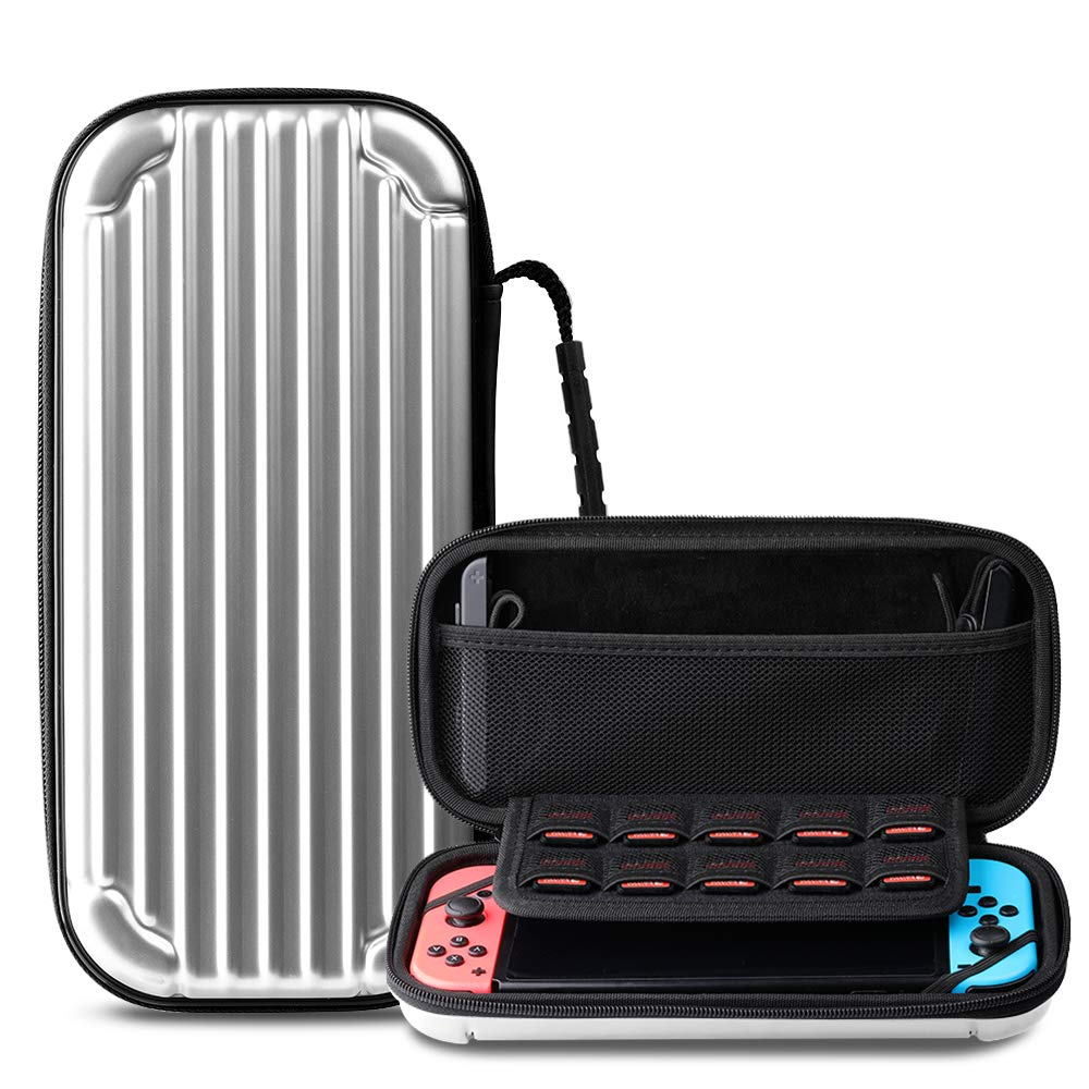 CAFELE Carrying Case For Nintendo Switch, Deluxe Hard Shell Travel Carry Case Portable Pouch Bag For Nintendo Switch Console & Accessories [Waterproof] [Dual Protection] [Large Capacity] – Silver