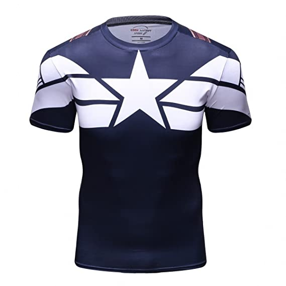 f117b3fef24 Cody Lundin Men s Compression Sport Tight Shirt Movie Captain Hero Training  Workout Base Layers T-