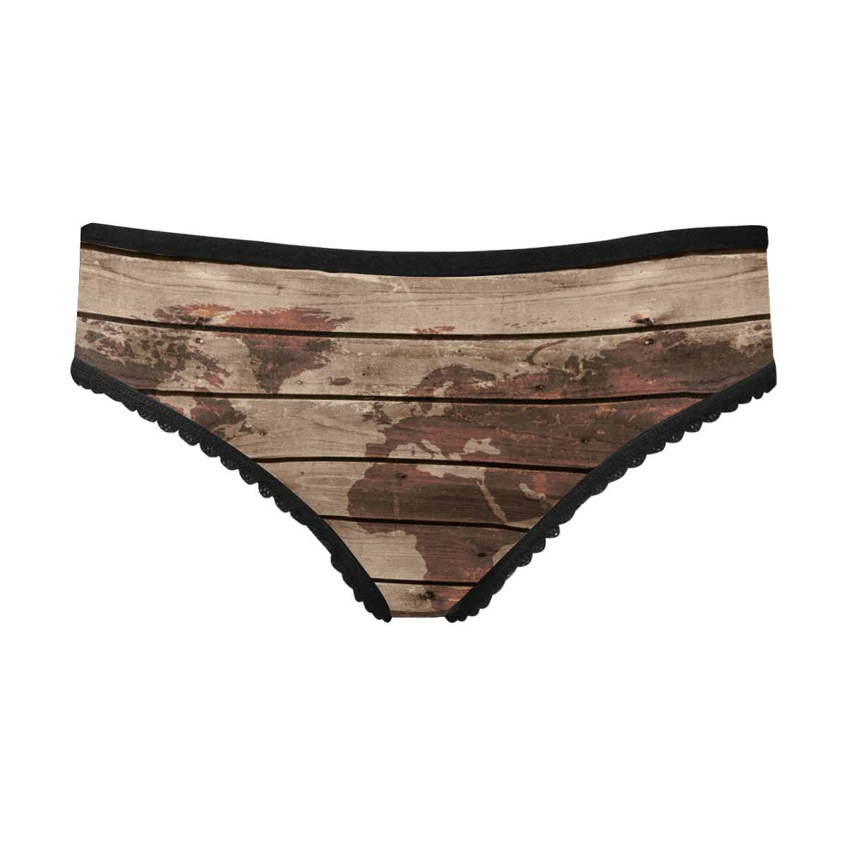 InterestPrint Women's Brief Panty Old Wood Texture with World Map in Vintage Style XL