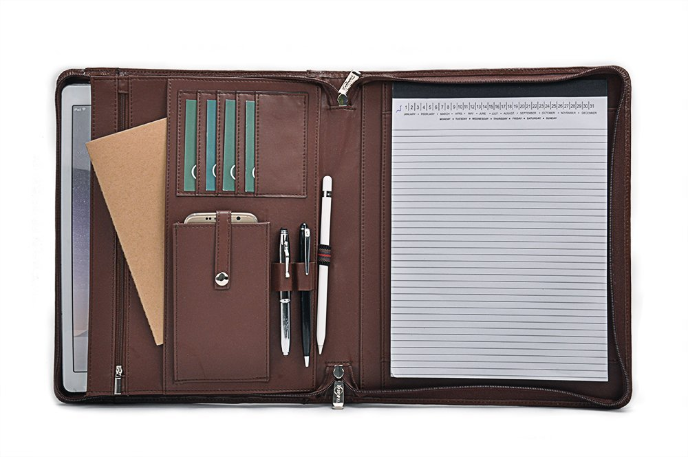 Leather Writing Portfolio, Design Organizer Padfolio with Pocket and Letter Size Writing Pad, Brown