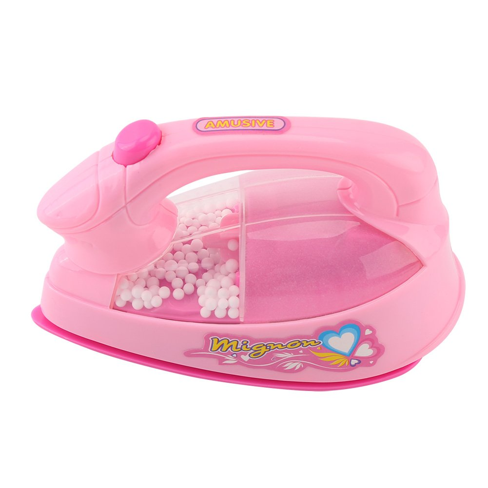 Mini Electric Iron Toy Plastic Pink Kids Children Baby Girl Pretend Play Home Appliances Toy for Kids Fdit