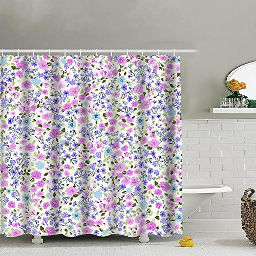 best bags Simple Cute Smallscale Flowers Millefleurs Vintage Shower Curtain Set, Relaxing Summer Landscape Bathroom Decor,Shower Curtain Set Waterproof 60X72 Inch