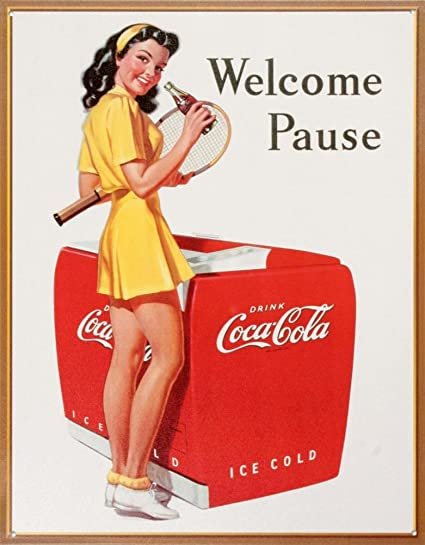 Coca Cola Coke Welcome Pause Tennis Retro Vintage Tin Sign 13x16