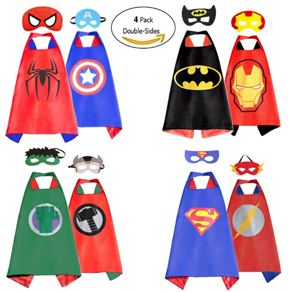 AnRio Boy's Dress Up Helloween Costumes Double- Sides Satin Capes (4 Pack, 8 Mask)