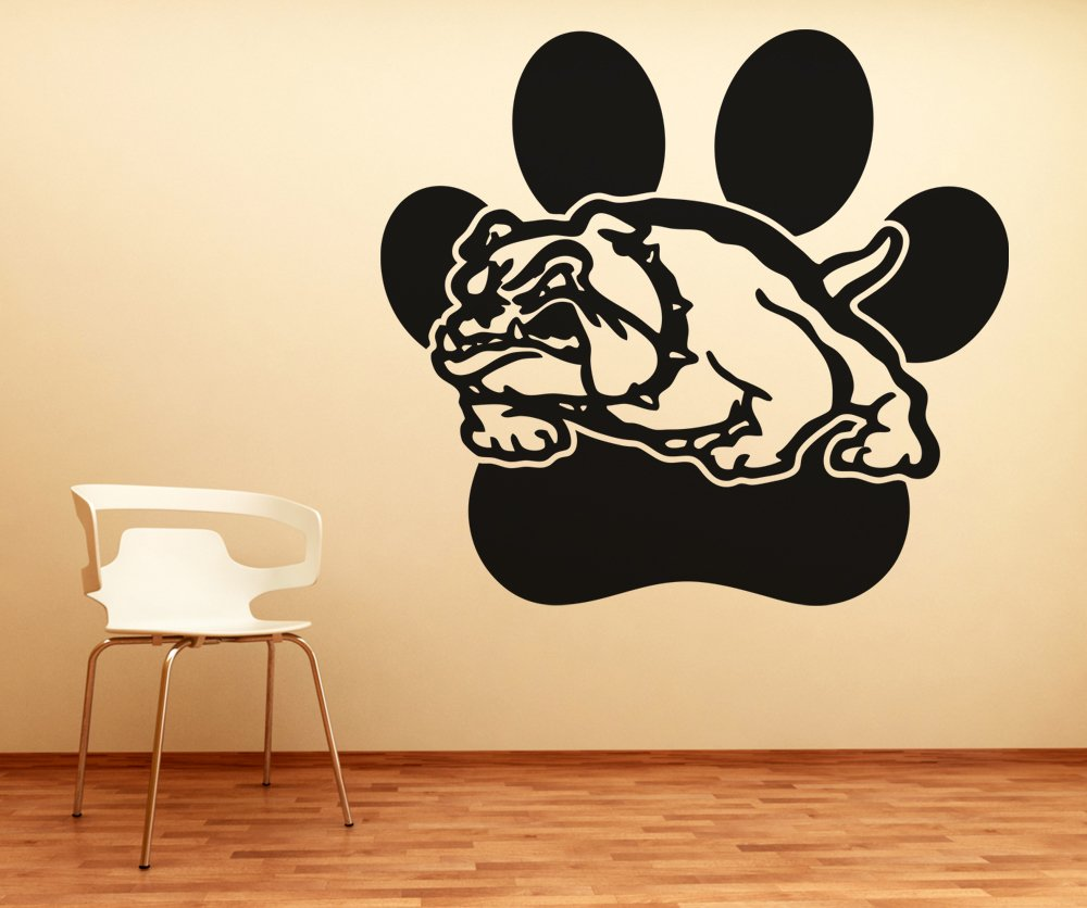 Amazon.com: School Mascot Bulldog w/ Paw Print Wall Decal Sticker by ...
