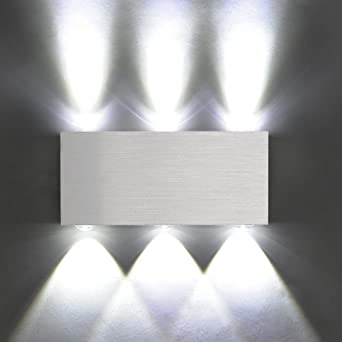 Amzdeal Modern Aluminum 6 Led 6w Up Down Wall Lights For Living