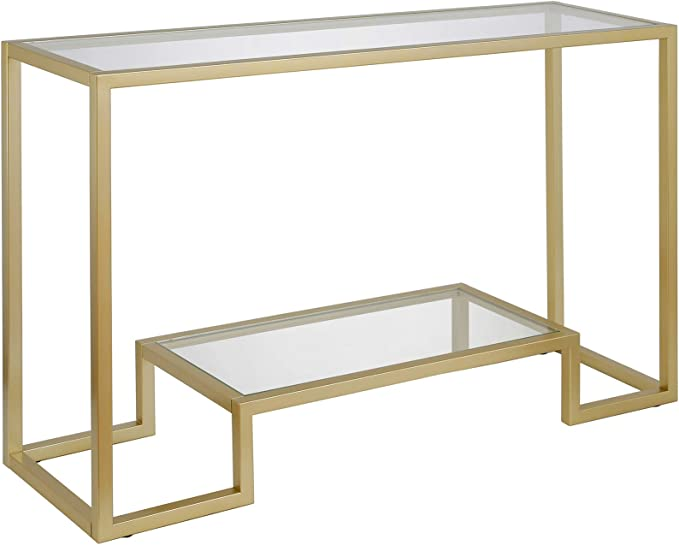 Amazon Com Henn Hart Modern Entryway Accent Glass Shelf For Hallway Sofa Living Room Easy Assembly Console Table 1 Gold Furniture Decor