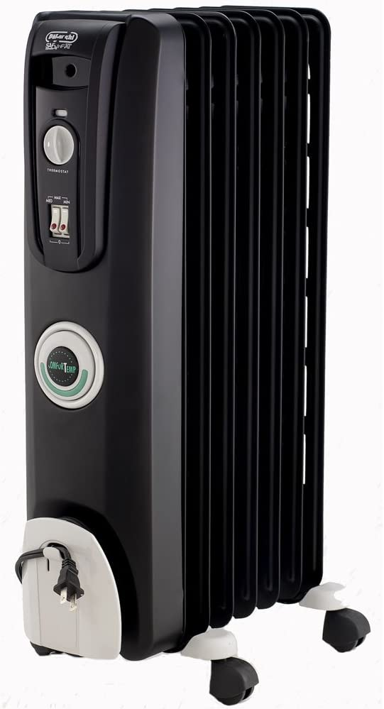 DeLonghi Oil-Filled Radiator Space Heater, Quiet 1500W, Adjustable Thermostat, 3 Heat Settings, Energy Saving, Safety Features, Nice for Home with Pets/Kids, Black, Comfort Temp EW7707CB