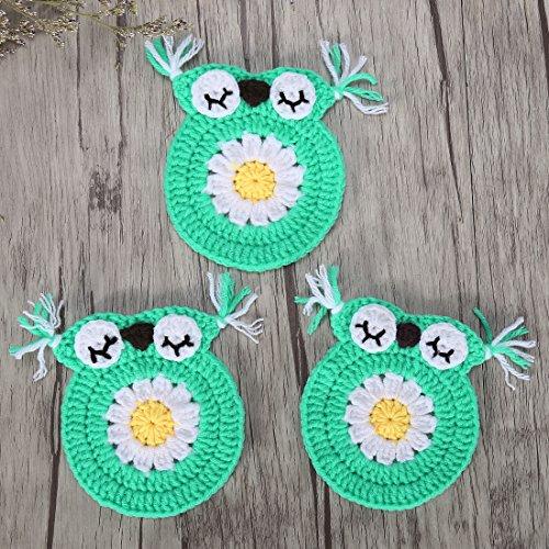 ZORJAR Handmade Owl Design Placemats Milk Cotton Table Place Mats Doily(Green)