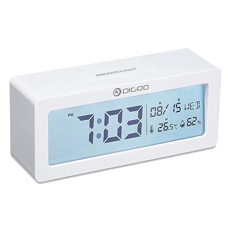 DIGOO Reloj Despertador Digital, LCD Reloj Alarma con Pilas con Monitor de Temperatura y Humedad, Calendario, función de repetición, Reloj de ...