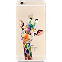 Case for iPhone SE, for iPhone 5S 5 Case, CrazyLemon Ultra Slim Soft Hybrid TPU Silicone Gel Skin Creative Pattern Printed Flexible TPU Back Protective Case Cover for iPhone SE 5 5S - Colorful Giraffe