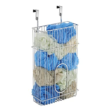 mDesign Over-the-Cabinet Plastic Bag Storage and Grocery Bag Holder, Kitchen Storage � Chrome