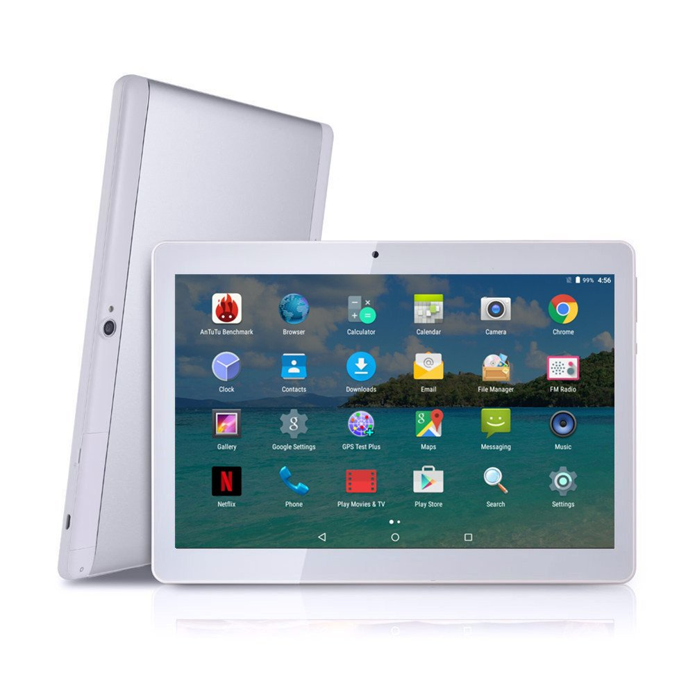 Android Tablet with SIM Card Slot Unlocked 10 inch - YELLYOUTH 10.1 IPS Screen Octa Core 4GB RAM 64GB ROM 3G Phablet with WiFi GPS Bluetooth Tablets - White with Silver