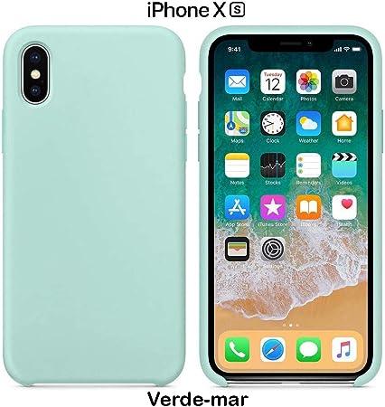 Image ofFunda Silicona para iPhone X y XS Silicone Case Calidad, Textura Suave, Forro Interno Microfibra (Verde mar)