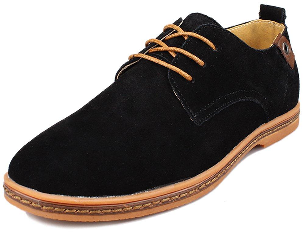 Kunsto Men's Classic Leather Oxford Flats Shoes Lace up US Size 10 Black
