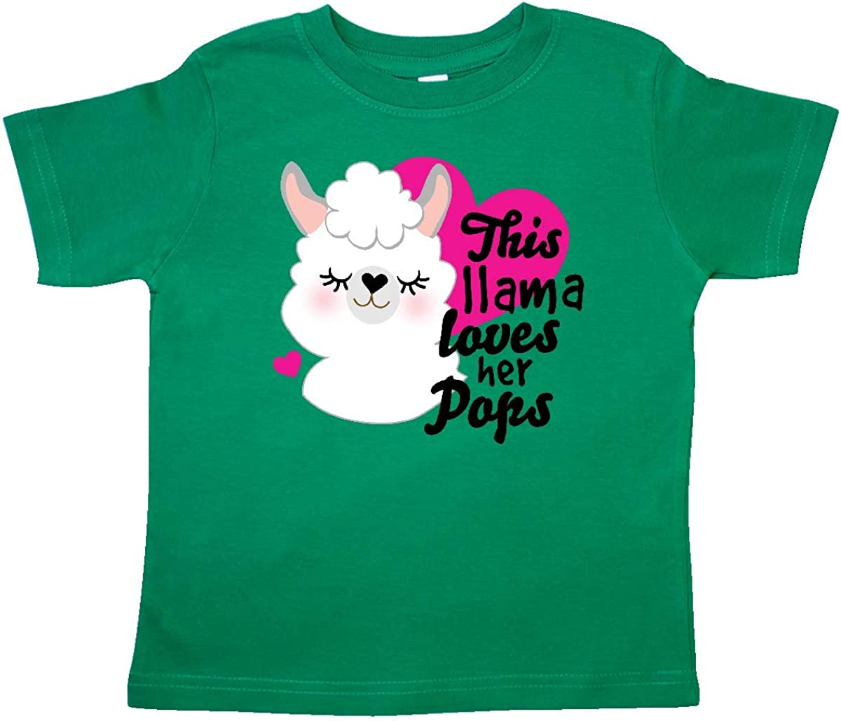 inktastic Valentines Day This Llama Loves Her Pops Toddler T-Shirt