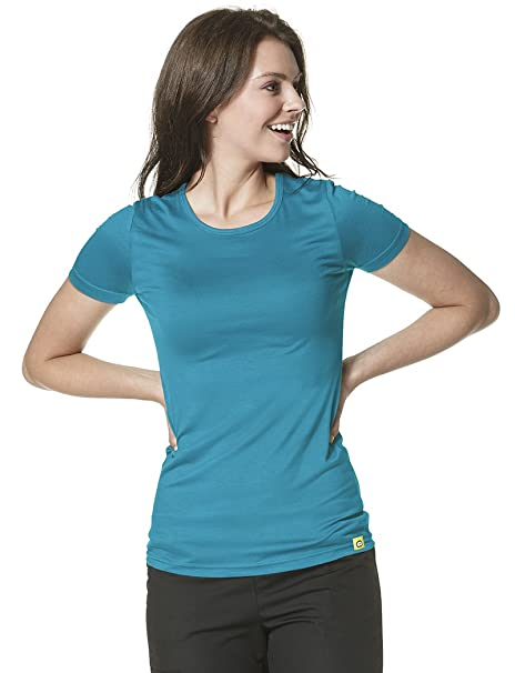 aa6fa3f2 Amazon.com: WonderWink Layers Women's Silky Short Sleeve T-Shirt Small Real  Teal: Clothing